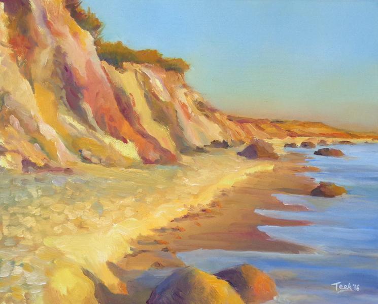 "Golden Hour at Gay Head Cliffs, 11"" x 14"" SOLD"