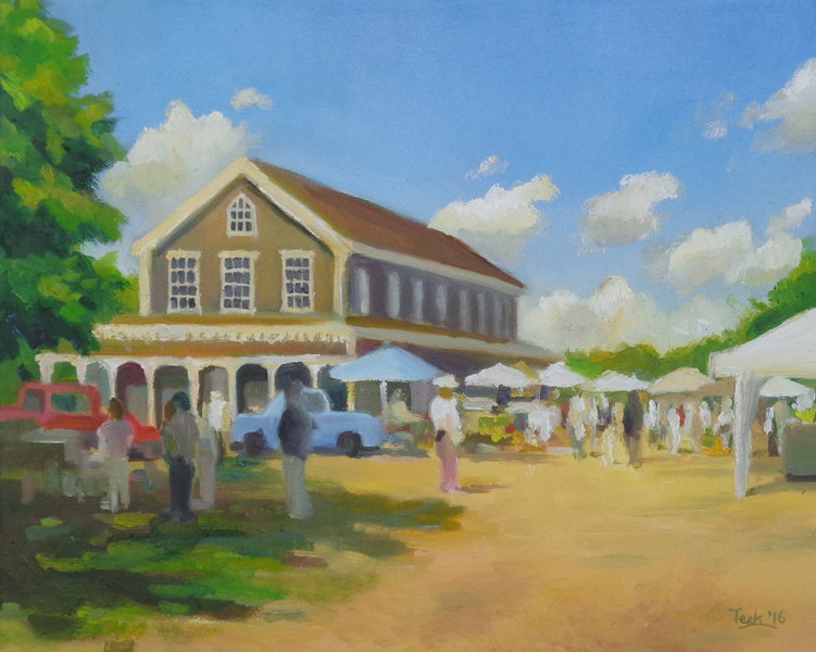 """Farmer's Market at Old Agricultural Hall, Oil on Canvas, 11"""" x14"""""""