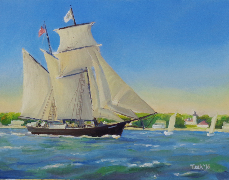 """The Shenandoah at West Chop, Oil on Canvas, 9"""" x 12"""""""
