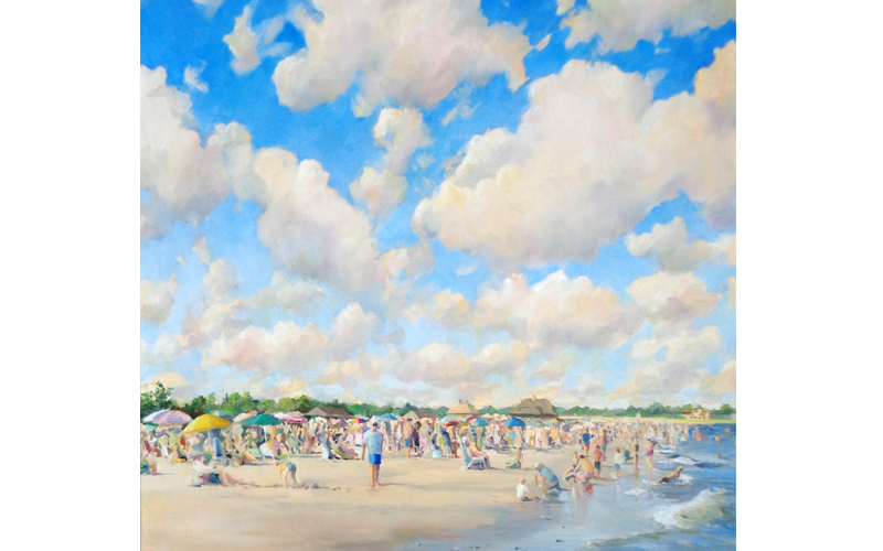"Busy Afternoon at Greenwich Point, Oil on Canvas, 36"" x 36"""