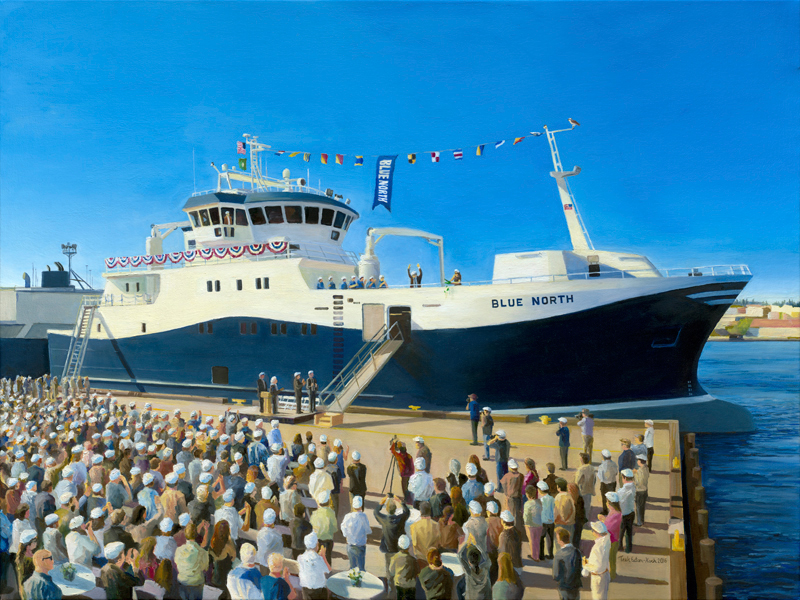 Large format commissioned painting of the F/V Blue North for Blue North Industries of Seattle, WA