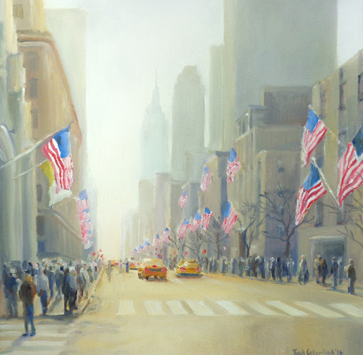 "Fifth Avenue Flags, Oil on Canvas, 12"" x 12""  *Available for Sale - Contact Teek"