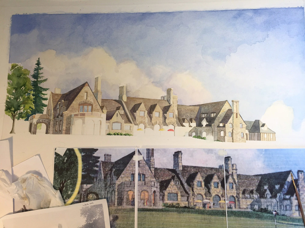 Artwork in progress of the Winged Foot Golf Club using reference material