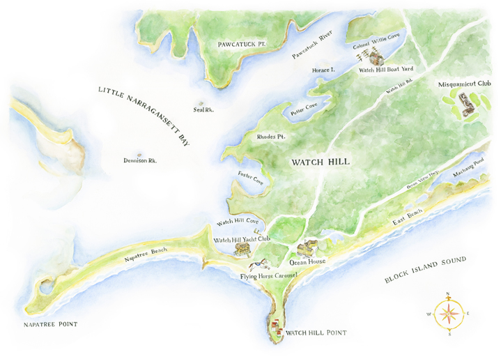 """Watch Hill, RI, Map, Watercolor & Graphite hand lettered text, 20"""" x 26"""""""