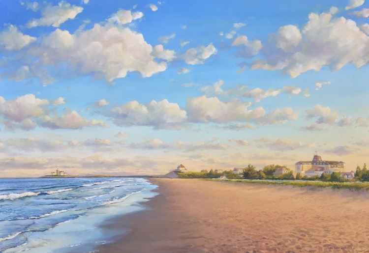 3 x 4ft painting of East Beach, including the Ocean House, in Watch Hill, RI - SOLD