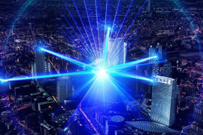 Live Laser Show on Milan skyscrapers