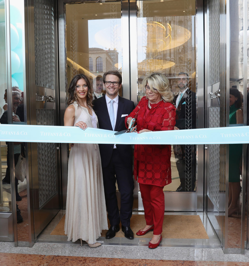 Erika Lemay , Marc Jacheet and Raffaella Banchero ribbon-cutting ceremony of the new Tiffany & Co. store in Piazza Duomo on July 11, 2017 in Milan, Italy.