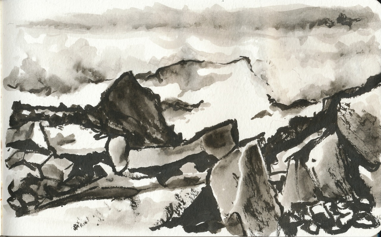 Here's a japanese zen ink landscape-ish painting of the view from the ascent up Galdhøpiggen, Norway's and Northern Europe's highest peak at 2469 meters above sea level. A quite epic hike, that involved crossing a glacier and climbing a really steep ridge. There was also a cafeteria at the top as well and since it was at Norway's highest point, their products were priced accordingly.