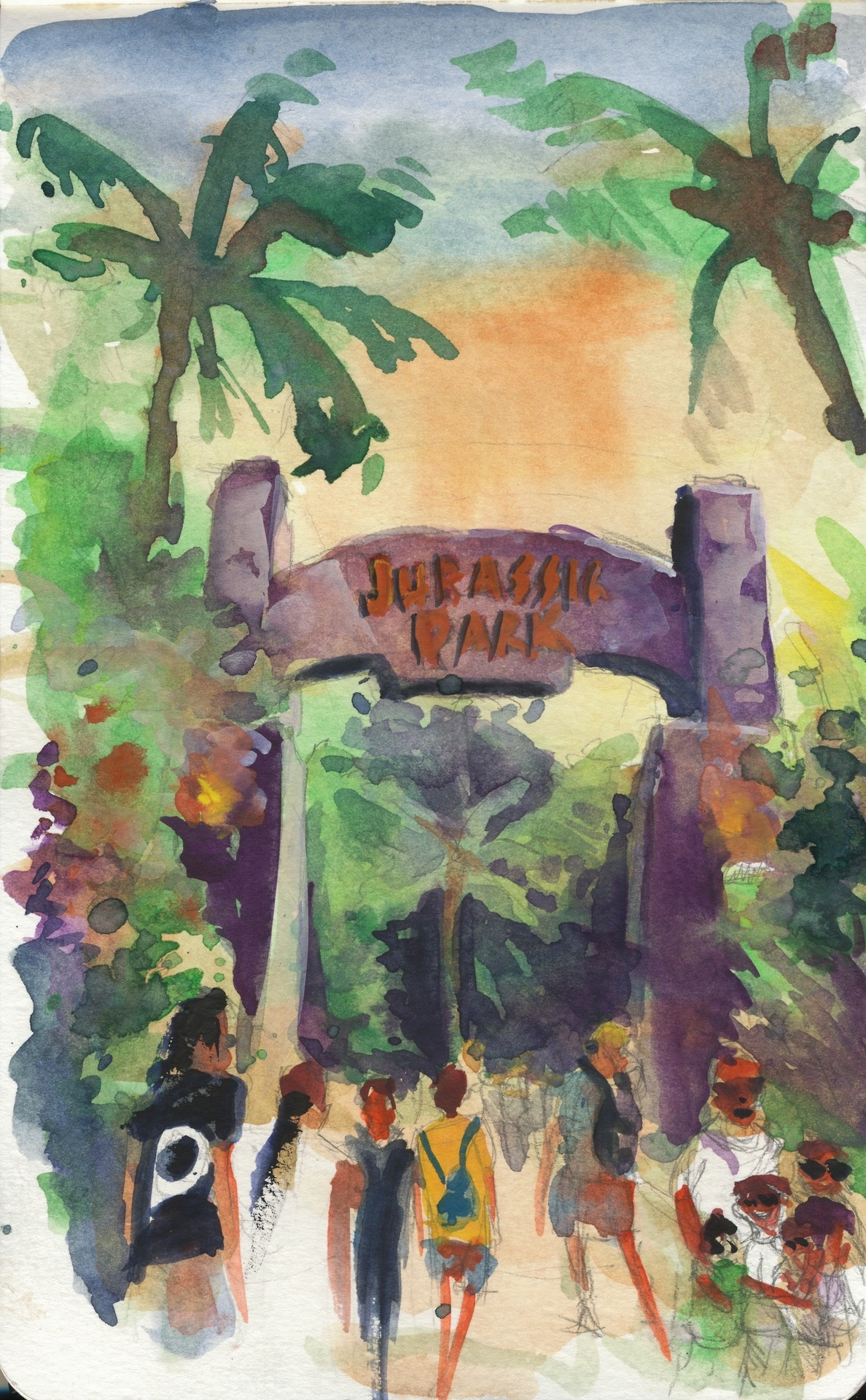 I skipped last sunday's update, but I happened to be very busy, anyways here is a more impressionistic attempt of a water color sketch. I still have a long way to go, though. Also, where was I? Not at a place that has King Kong, that's for sure, but the same company owns him too, so he could have.       ANSWER: Universal Studios at the theme park capitol of the world: Orlando. A very nice place, actually, though the sudden sinkholes frighten me.