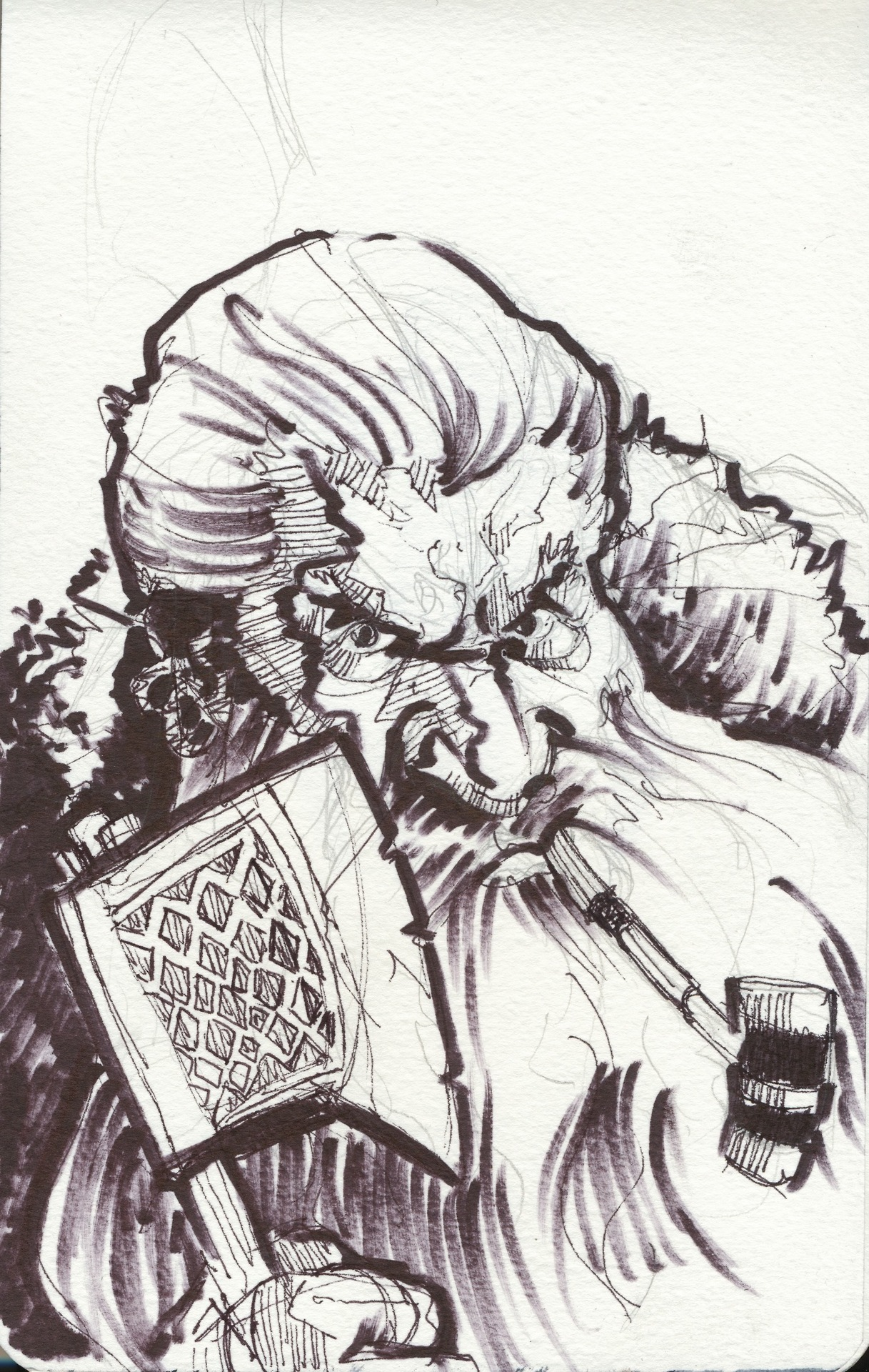 "The original title was to be ""Dwarves are not for Tossing"", but I have a feeling there would be some UK residents who might have giggled at that title. Anyway, I drew a random fantasy dwarf this time around. This is my last update before my three week long US trip, så I cannot guarantee that I will post at the scheduled times during that period. I will try my best, though."