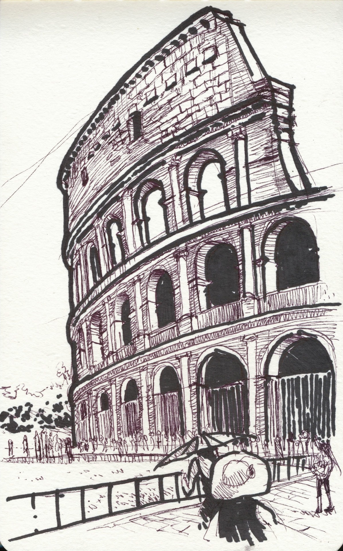 I am going on vacation soon and I decided to practice sketching by drawing the Colosseum from one of my pictures from last year. Enjoy.