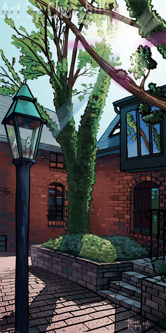 A digital painting of an area in german village, Columbus Ohio.