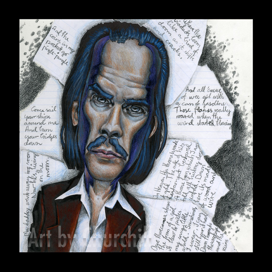 """Here's a mixed media charicature of Nick Cave, musician and general master with words, who can go from violence and brutality to the most tender of love songs. This portrait, called """"The Crooner"""" is made with cut paper and colour pencils."""