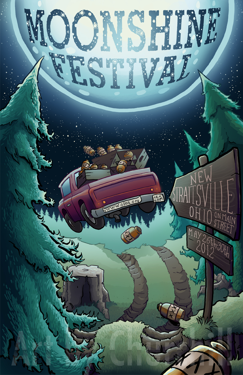 Poster for the Moonshine Festival in Ohio. Bring your kids. Seriously, it's for the entire family. I'm not quite sure how, but it is.