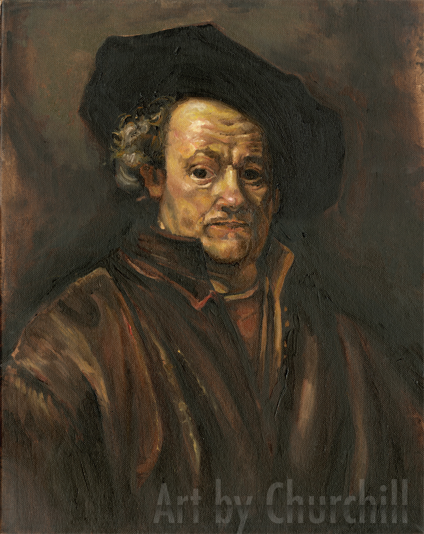 This is a master copy of one of Rembrandt's many self portraits. Of all the old geezers I think my favourite is Rembrandt. It was very hard to try to replicate the colours, but it was educational. Well worth it.