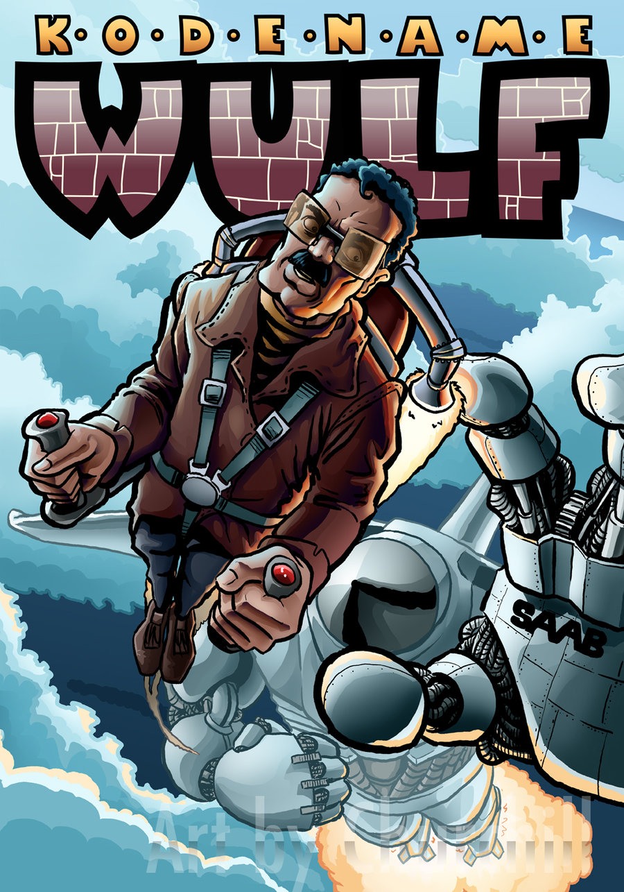 Here's my comic book cover for the (non-existing, sadly) comic book Kodename Wulf. This one went through quite a few changes instigated by the watchful eyes of the Kung Fu-art-masters Joe Kovach and C.F. Payne, and as a result it got a lot better. Sweet.   I would like to tell you guys what the idea of the comic is, but I'm afraid someone would swipe it from me. Yup, I'm that paranoid, however just because you're paranoid doesn't mean that no-one is out to get you.
