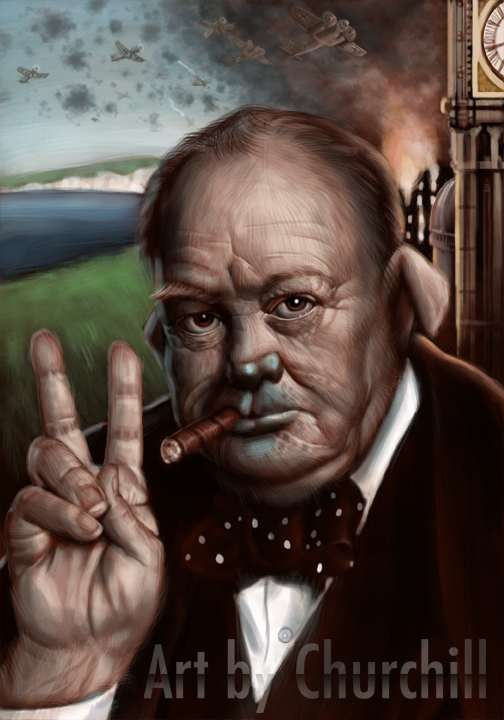 I did this piece about a half a year ago and this piece marks the first time I think I made a really decent realistic painting in photoshop. This particular piece is a portrait of the one and only Sir Winston Churchill, Prime Minister of Britain during World War 2. However, his looks are based on one of his nick names: The British Bulldog.
