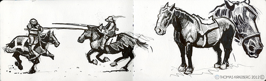 My buddy took me to a rennaissance festival in Ohio in which there were jousting. These sketches are from the pictures I took.