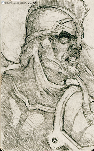 A sketch of Eomer from The Lord of the Rings.