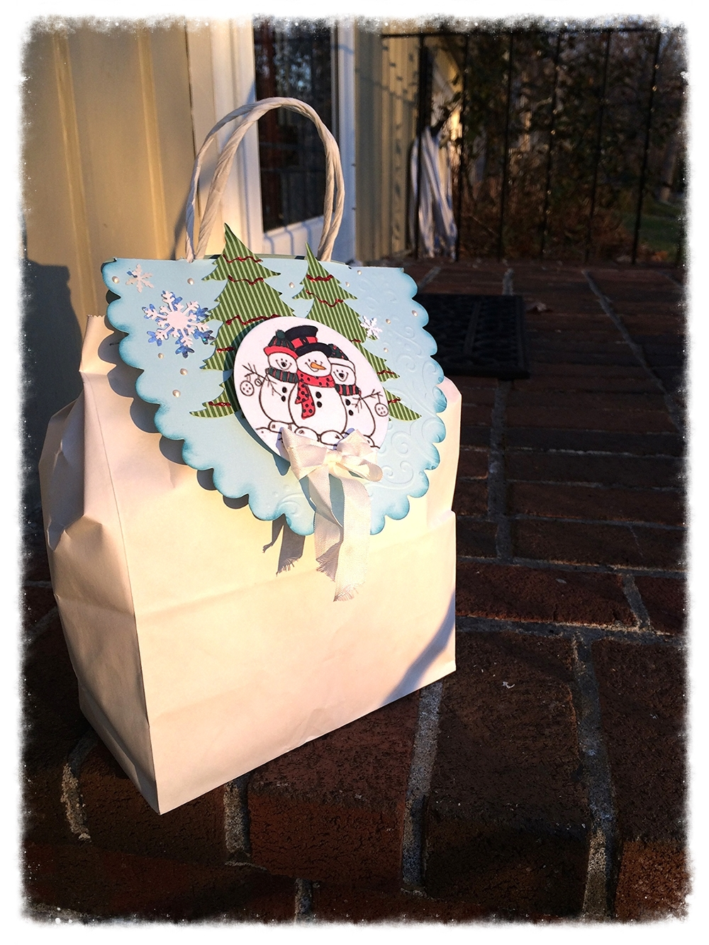 This was a cute No Peeking bag topper that we got to embellish as a little extra thank you project.