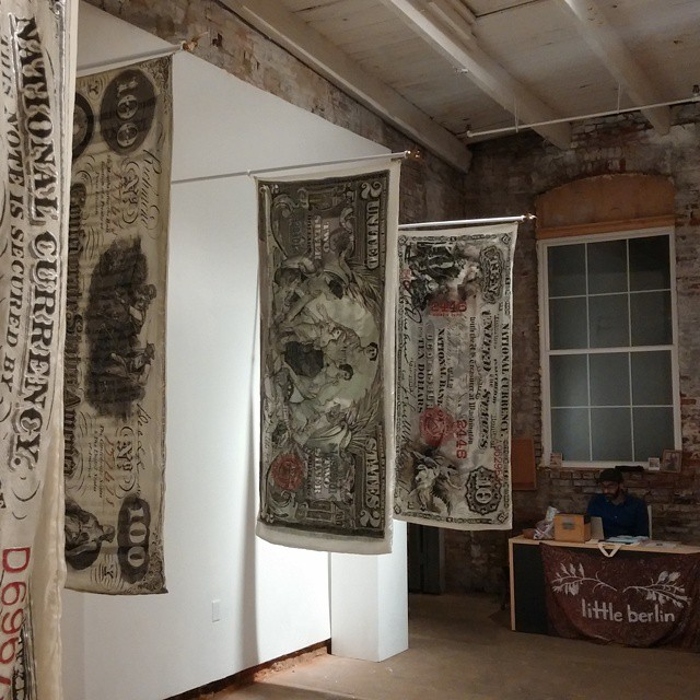 "Emily Erb - ""Legal Tender"" opening tonight at Little Berlin. Large scale hand painting historical American bills on silk fabric. #emilyerb #littleberlin #kensington #fishtown #dolladollabills"
