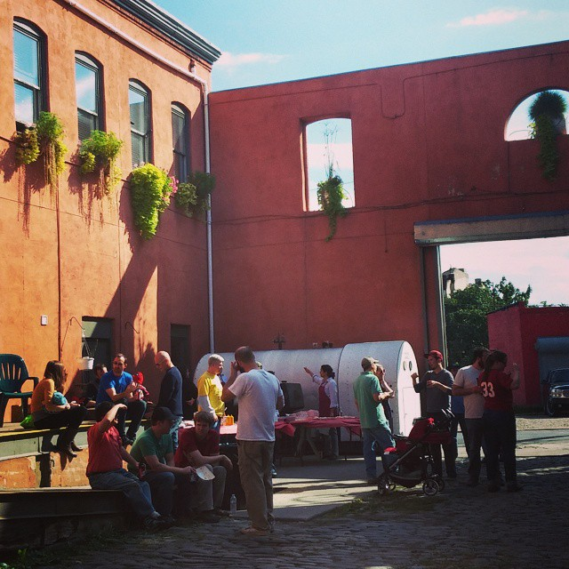 BBQ in the courtyard at @philadelphiabrewing for volunteers of the Fishtown neighborhood clean up this morning.  #newleafcleans #19125 #fishtown #kensington #pbc #nkcdc #pickuptrash