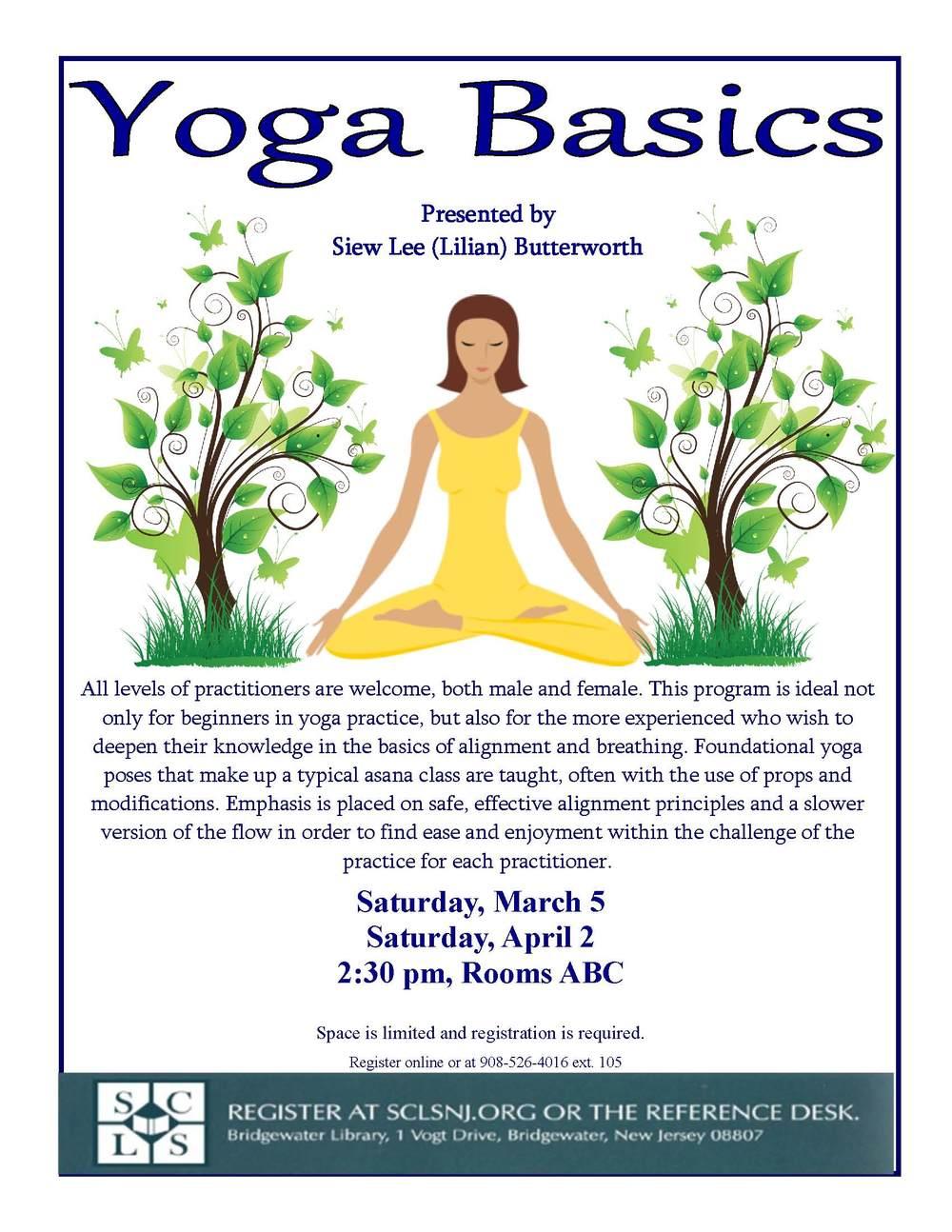 Free Community Yoga Class at Bridgewater Library. Register online at  Bridgewater Library website .