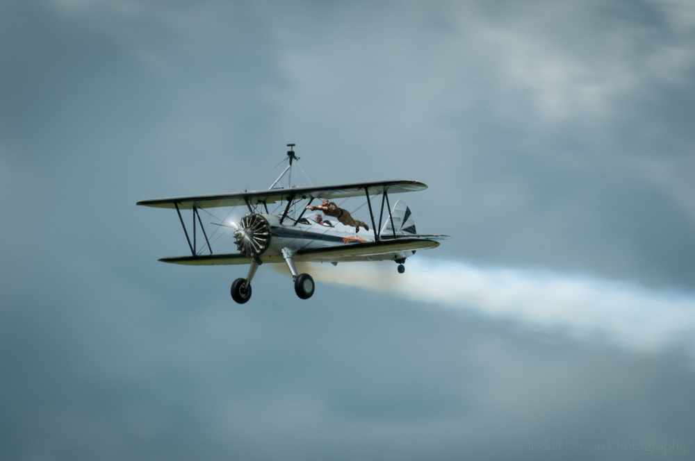 The Flying Circus Superhero. Pilot: Chuck Tippett. Wing Walker: Joe Bender. Camera settings: 400mm, 1/50 sec, f/29