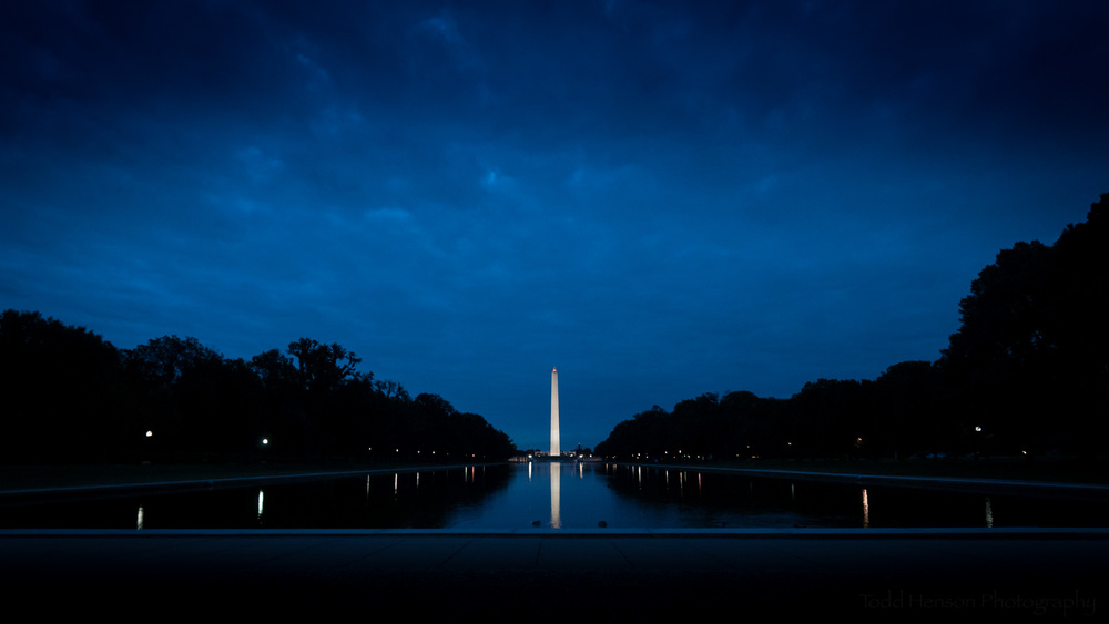 Washington Monument and the Reflecting Pool at dawn