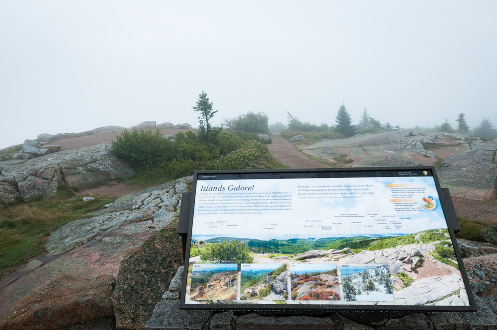 """Islands Galore!"" from Cadillac Mountain with view of nothing but fog"