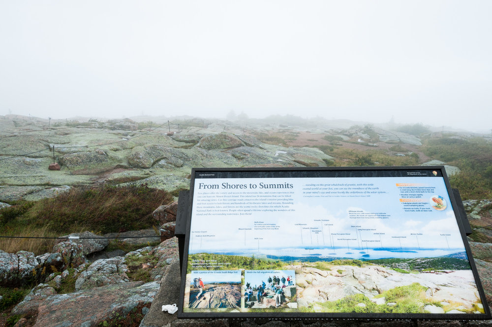"""From Shores to Summits"" view of fog from Cadillac Mountain"
