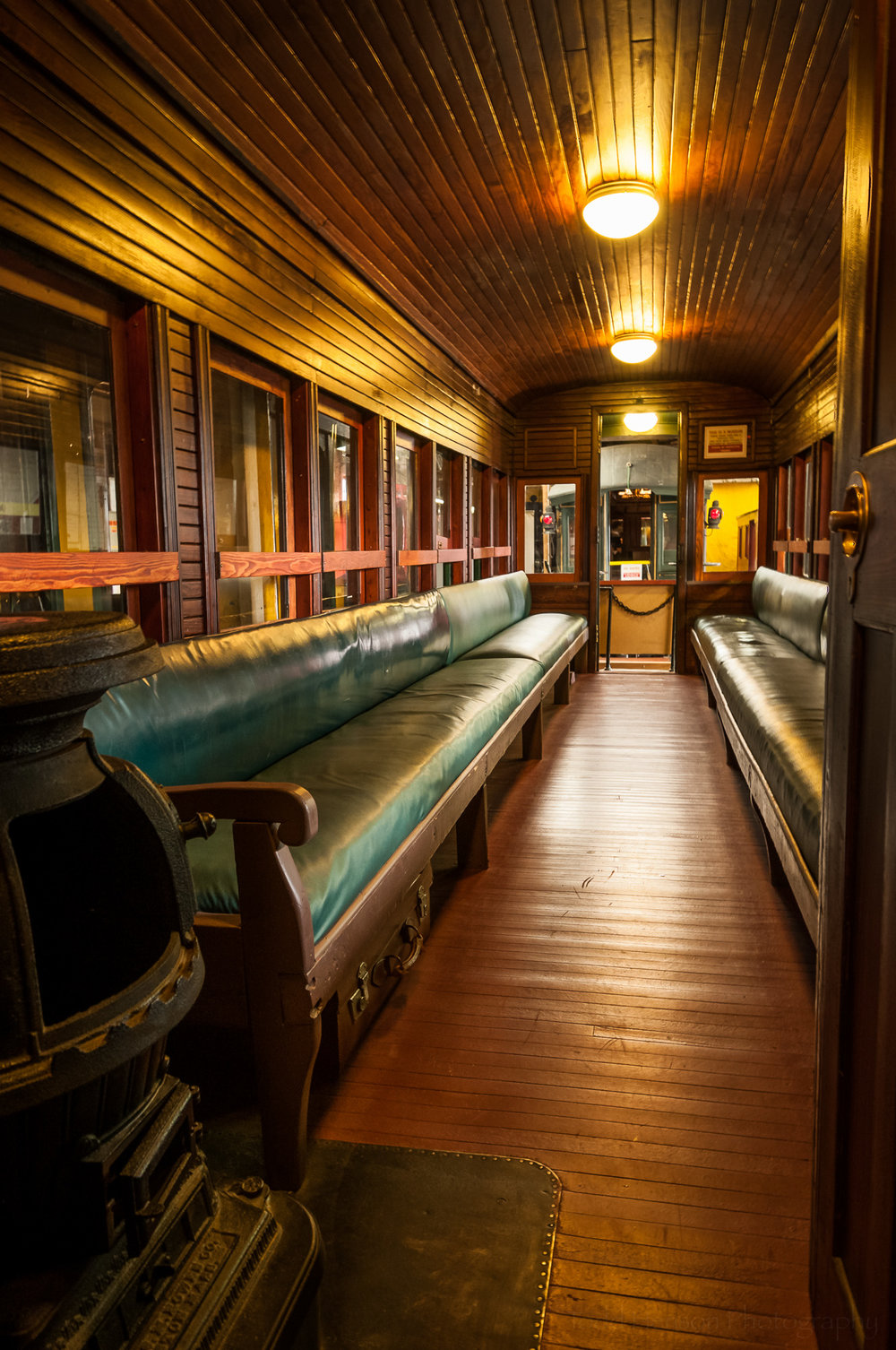 Interior of passenger train with stove (3 image HDR)