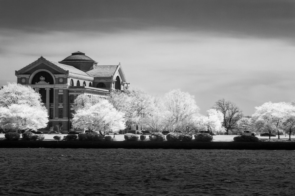 Black and white infrared composite image of the National War College, taken from East Potomac Park, Washington, D.C.