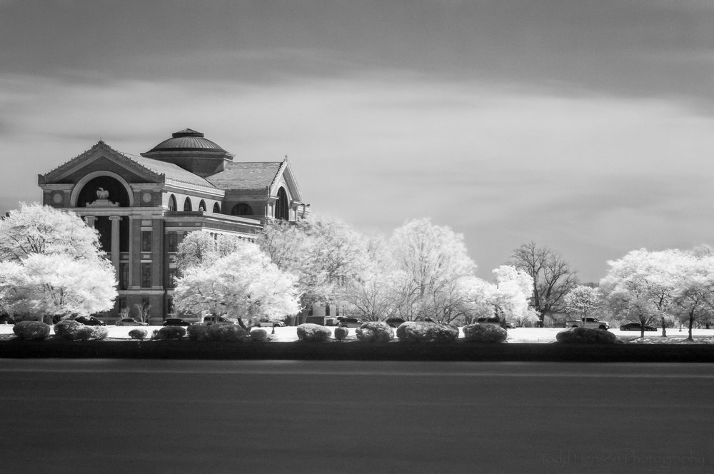 Black and white infrared image of the National War College, taken from East Potomac Park, Washington, D.C.