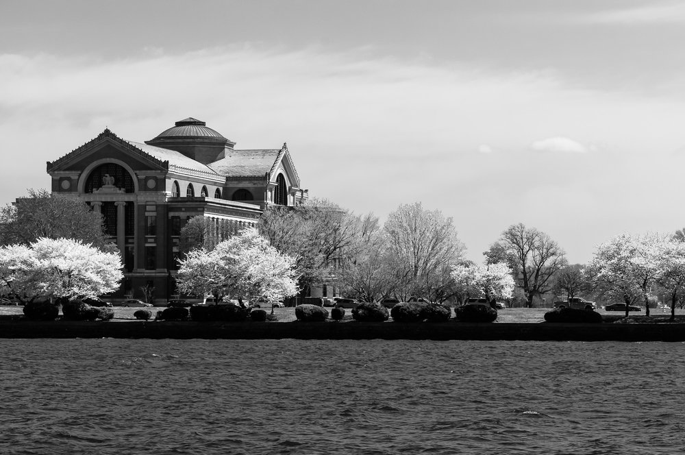 Black and white image (converted from the color image) of the National War College, taken from East Potomac Park, Washington, D.C.