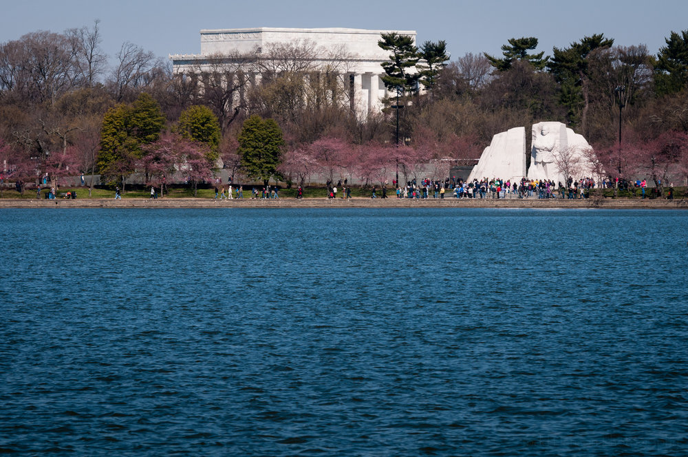 Martin Luther King, Jr. Memorial across tidal basin with Lincoln Memorial in background
