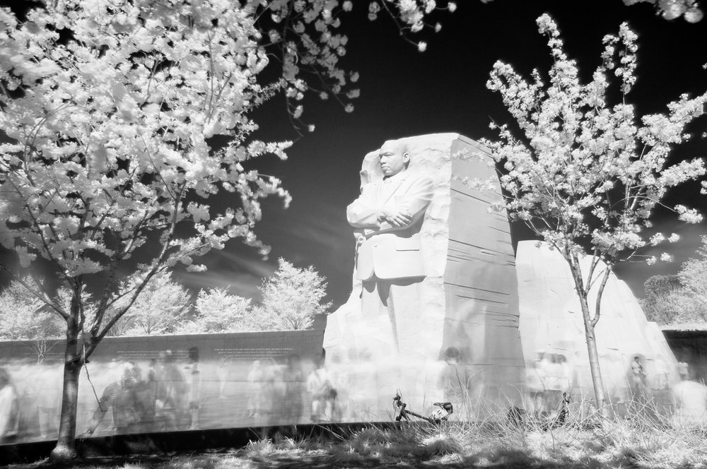 Another angle of the Martin Luther King, Jr. Memorial in infrared black and white