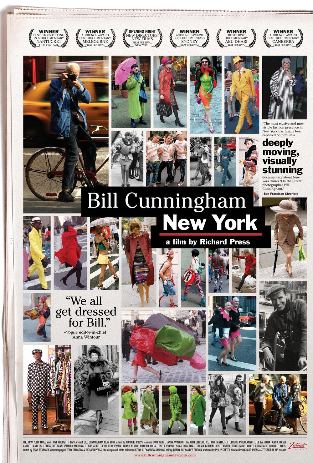BILL CUNNINGHAM NEW YORK poster. A film by Richard Press. A Zeitgeist Films release. Photo credit: First Thought Films / Zeitgeist Films