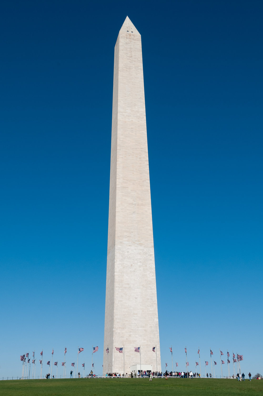 Vertical photo of the Washington Monument and a clear blue sky.