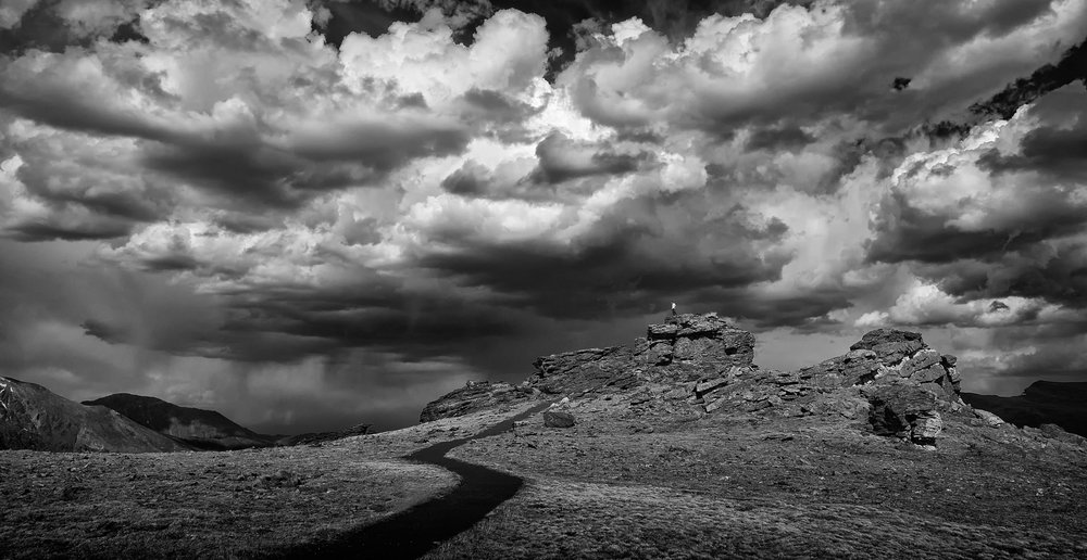 Facing the Storm, Rocky Mountain National Park (black and white)