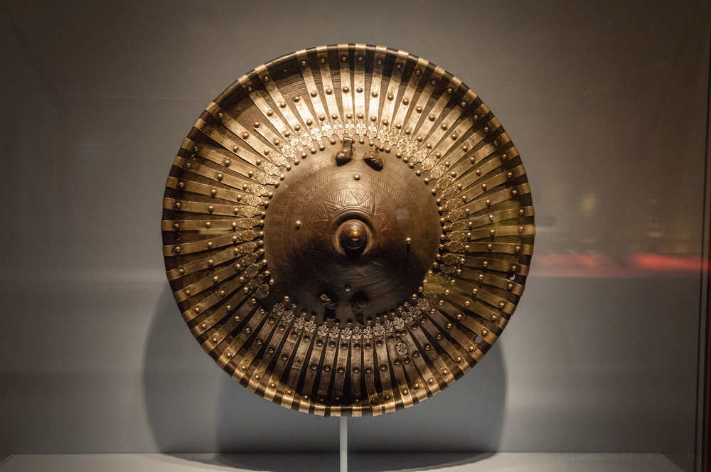 Ethiopian shield made from leather and silver alloy