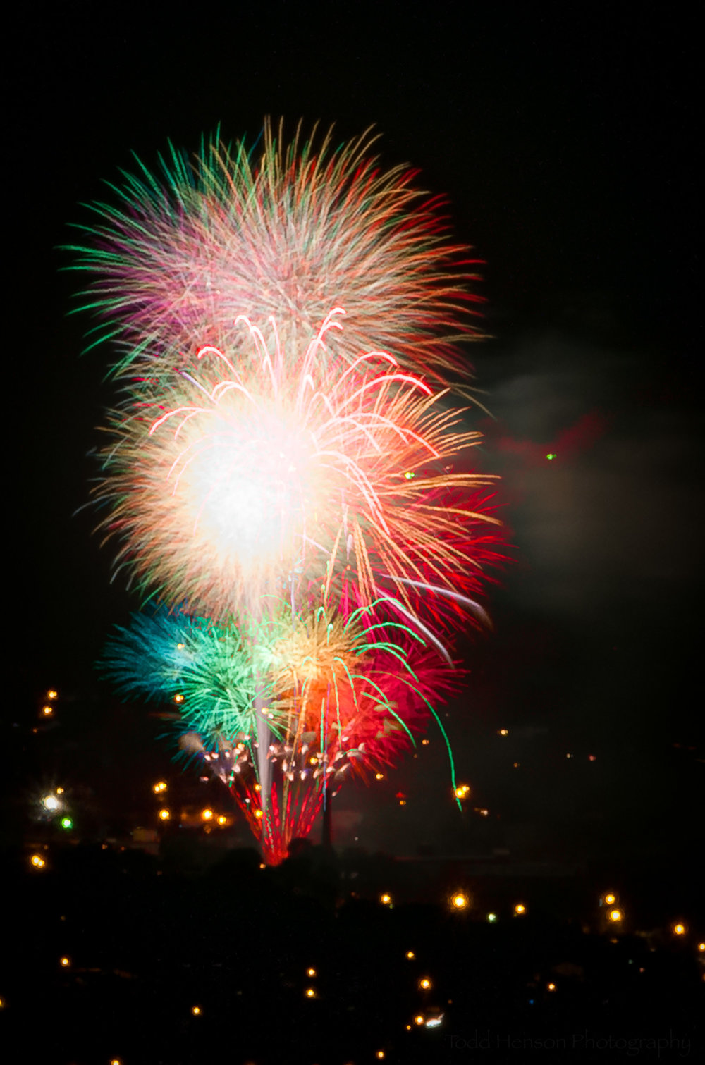Third grouping of multiple fireworks images.