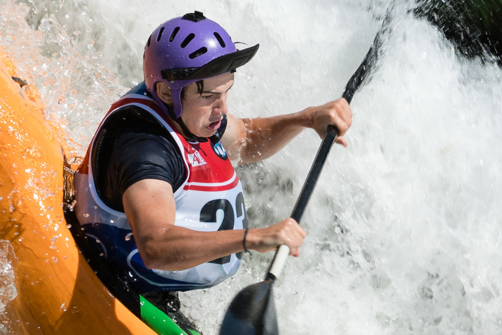 Closeup of Taylor Pittman Kayaking The Crack at Great Falls