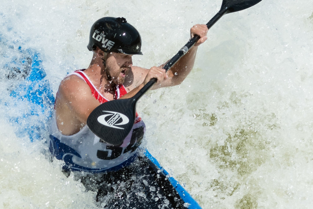 Closeup of Jake Trotter Kayaking The Spout at Great Falls
