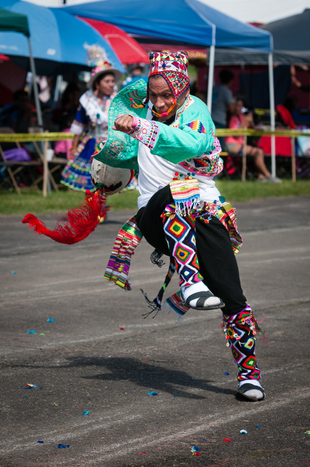 An energetic move during a Tinkus dance performed by Tinkus Bolivia.