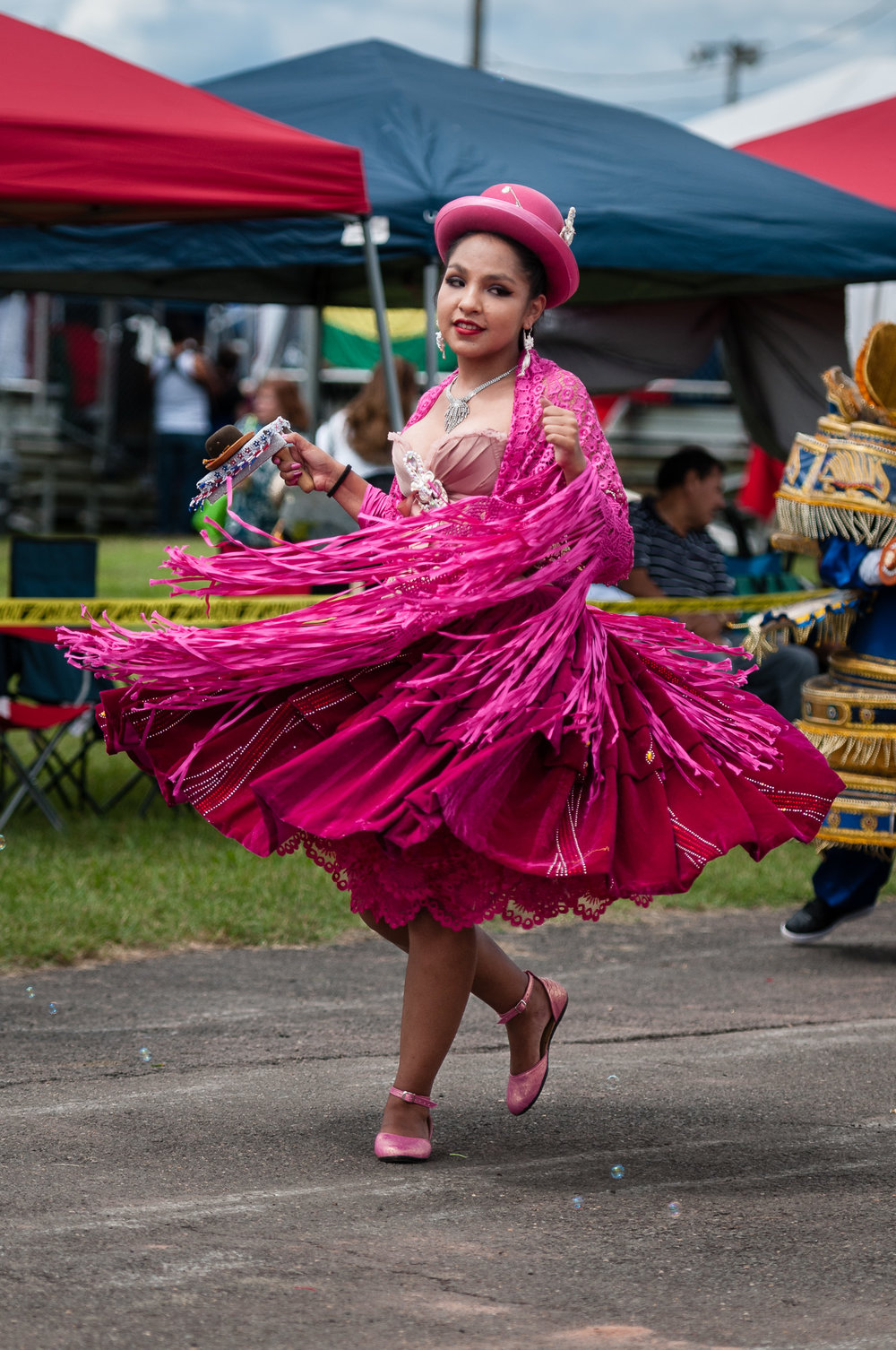 Embajadores del Folklore included a lot of color, such as this performer during a Morenada dance.