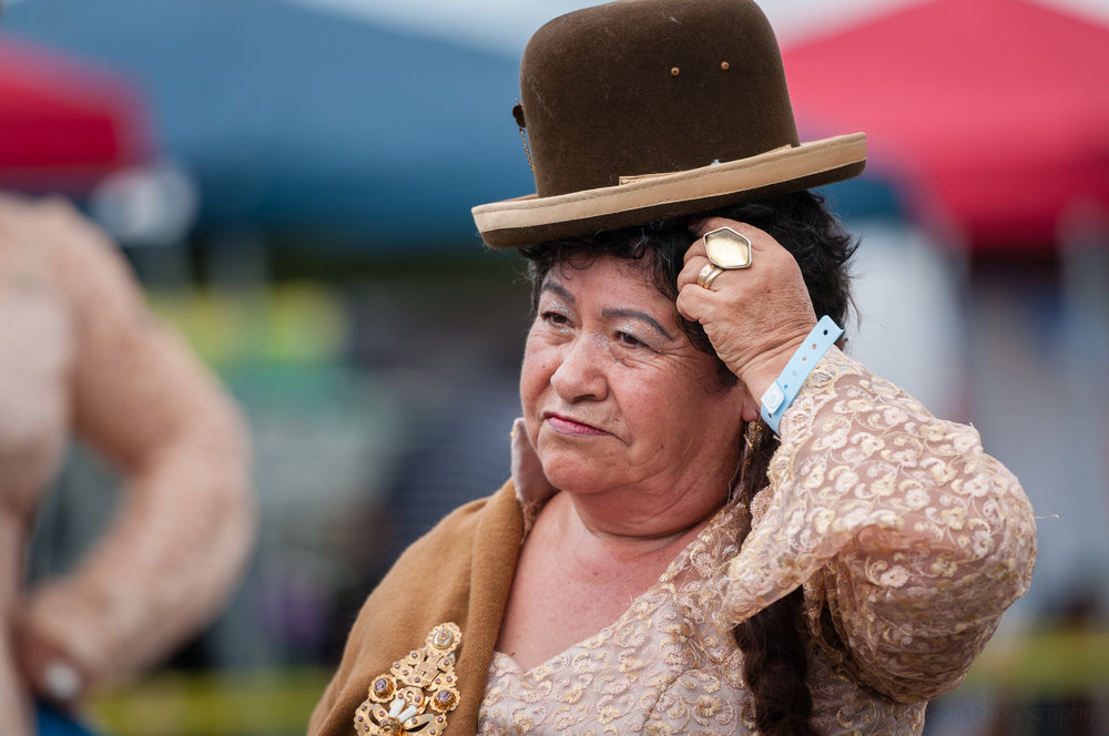 A member of Embajadores del Folklore after performing a Morenada dance.