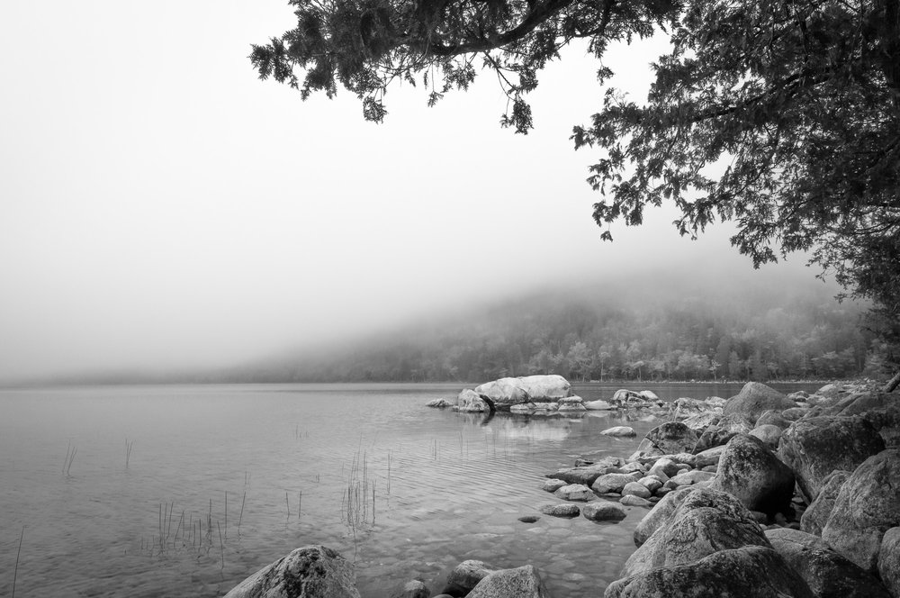 Noontime Fog over Jordan Pond, Acadia National Park, Maine