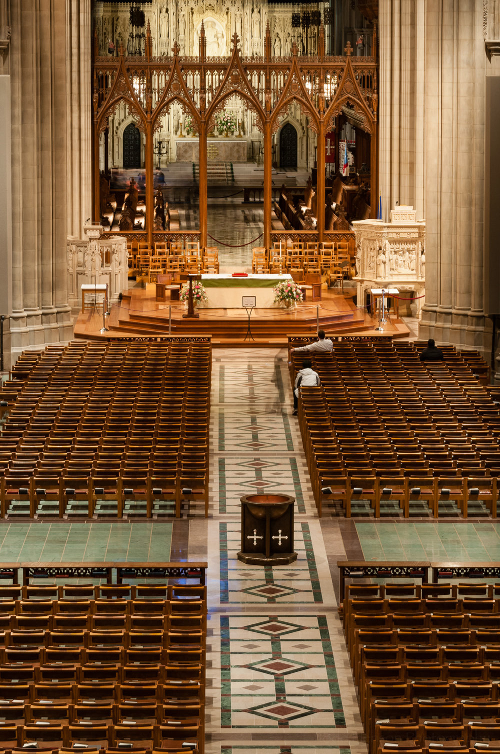 Interior view of Washington National Cathedral from an upstairs balcony.