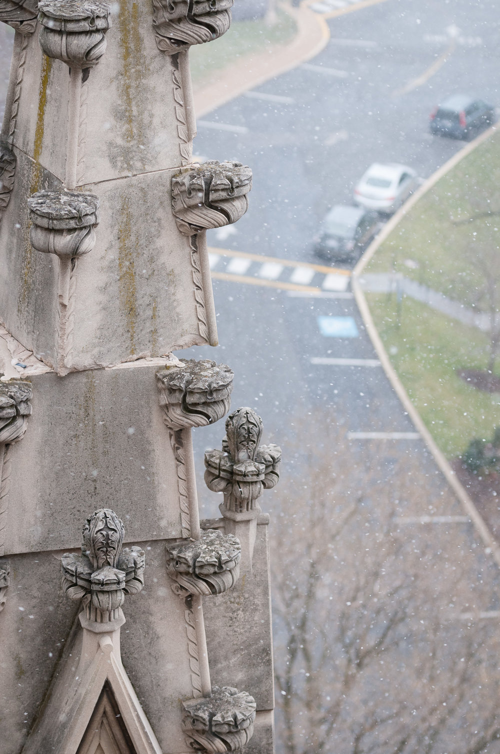 Pinnacle atop Washington National Cathedral damaged by 2011 earthquake.